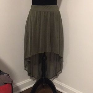 Army green high low skirt